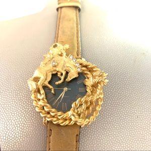 Vintage Marie Lourdes Gold Color Cowboy watch